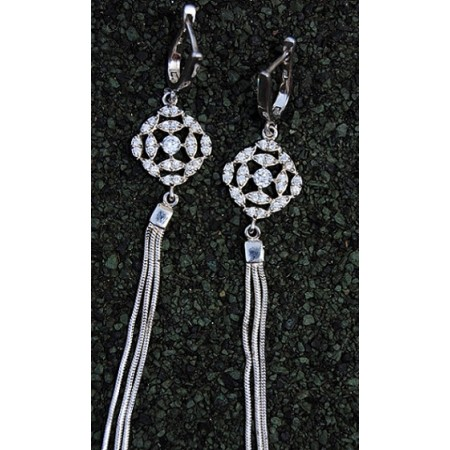 Tassle Bali Diamond Sterling Silver Dangler Earrings