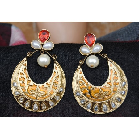 Golden Enamel Polki Diamonds Pearl Chand Bali
