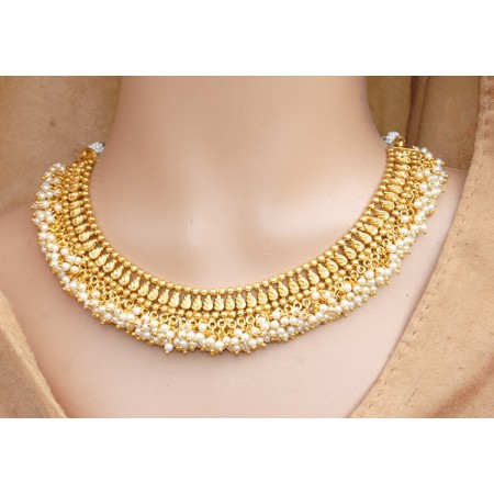 Leafy Pearl Gold Plated Ethnic Necklace Set with Jhumkas