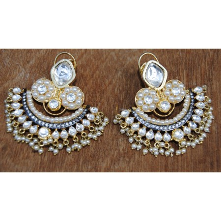PEARLY POLKI DIAMOND CHAND BALI EARRINGS
