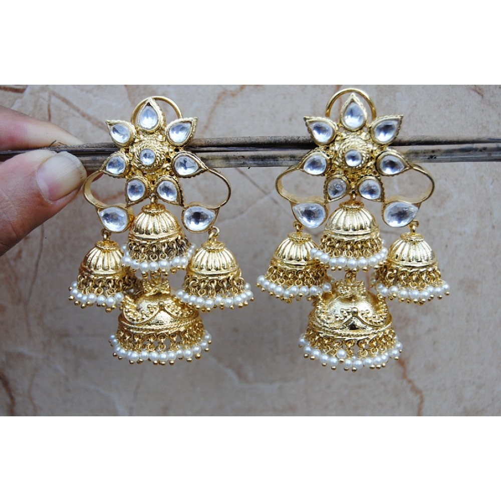 kt jewels gold jhumka diamond cuffs ear raj