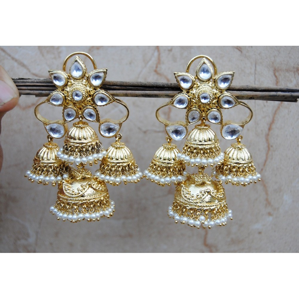 index dsc diamond studded polki gold jhumkas pearls floral