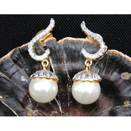 Delicate Diamond Pearl Drop Earrings