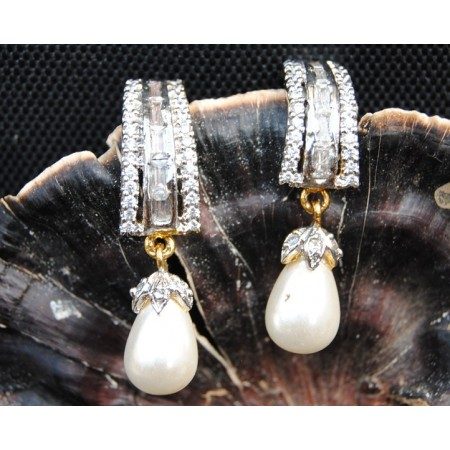 American Diamond Pearl Drop Earrings