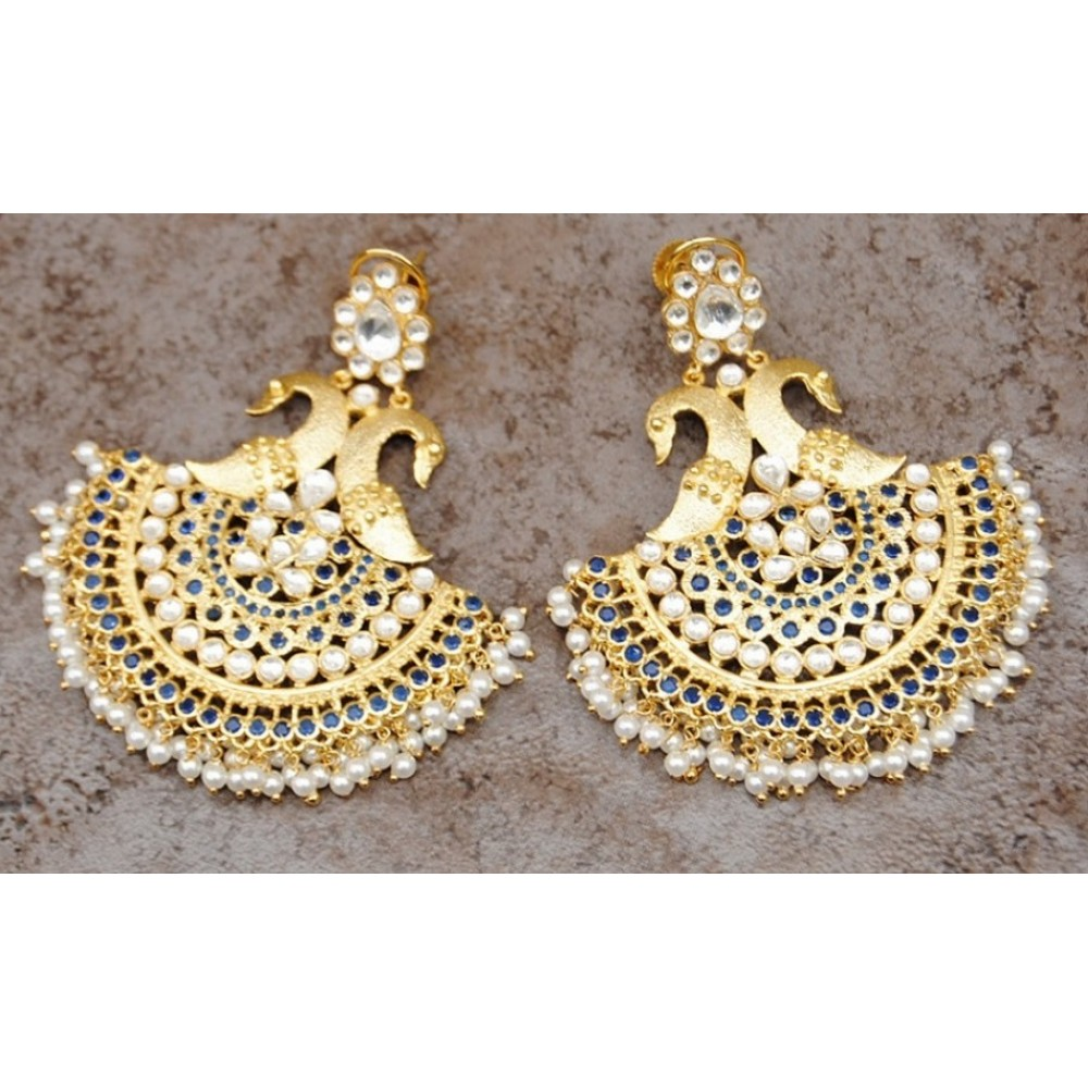 Peacock Polki Chand Bali Earrings