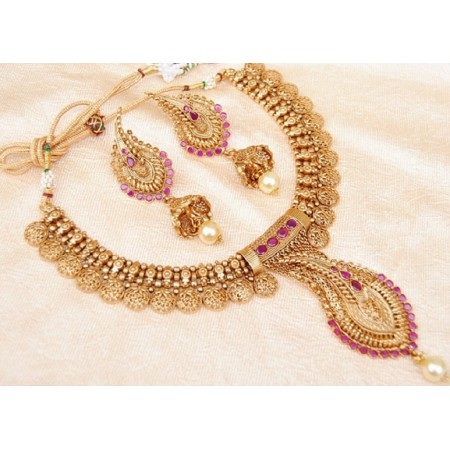 Ruby Gold Designer Necklace Set