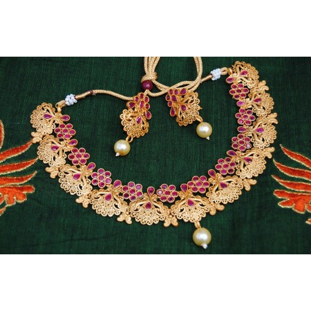 Ruby Peacock Floral Necklace Set