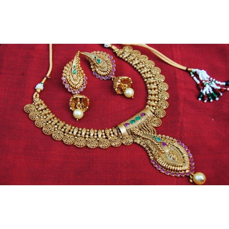 Multicolour Gold Designer Necklace Set