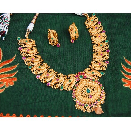 Ruby Emerald Peacock Ethnic Necklace Set
