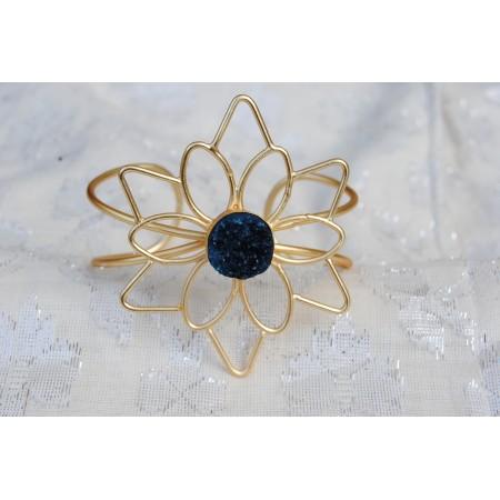 Blue Floral Druzy Bracelet