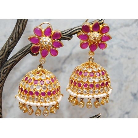 Ruby, Polki Diamond Gold Jhumka Earrings