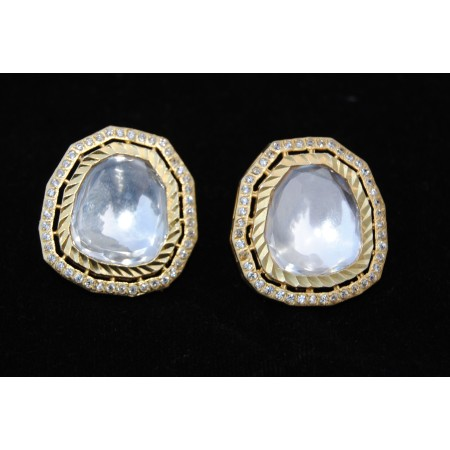Crystal  Stud Gold Diamond Earrings