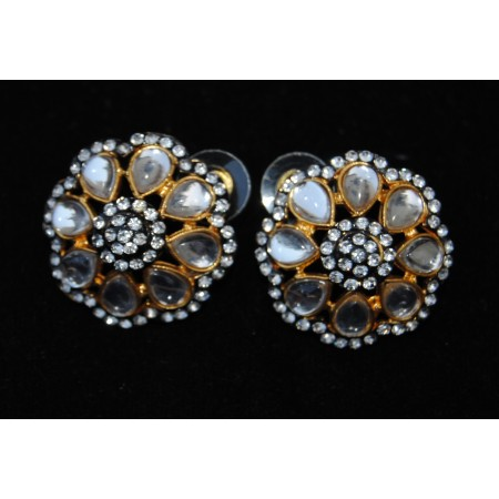 Floral Polki Diamond Stud Earrings