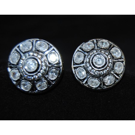 Round Polki Diamond Stud Earrings