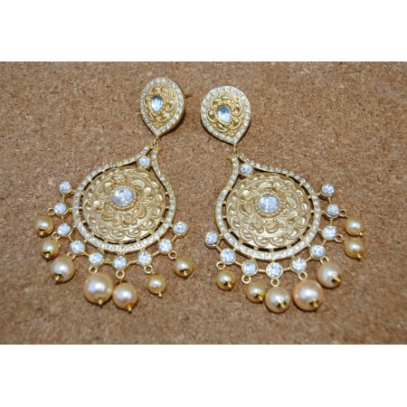 Royal Pearl Polki Diamond Dangler Earrings
