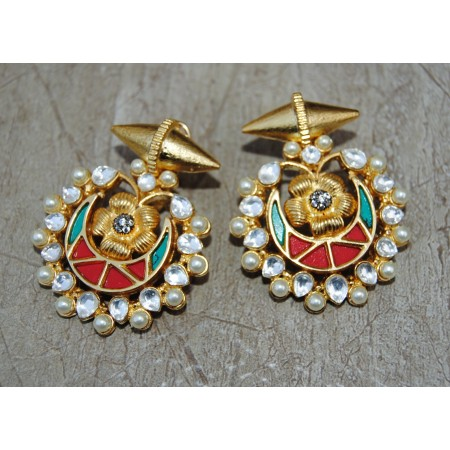 Chand Bali Pearl Polki Bullet Fusion Earrings