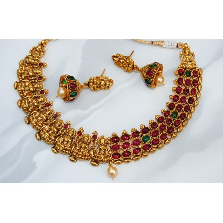 Gold Red Green Stone Temple Necklace Set