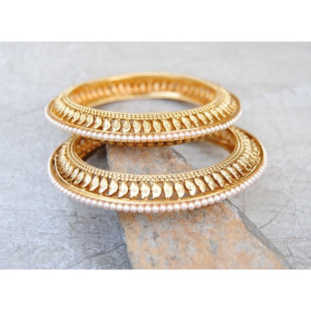 Ornate Floral Gold Kada Bangles with Pearls