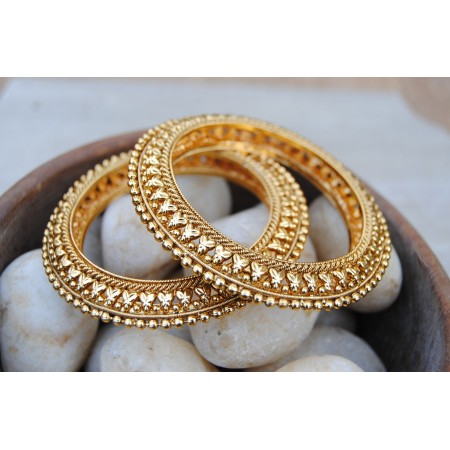 Leafy Golden Beaded Kada Bangles