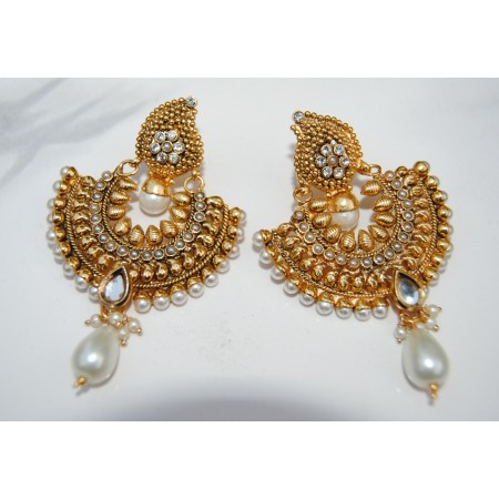 GOLD LEAF POLKI DIAMOND CHAND BALI EARRINGS