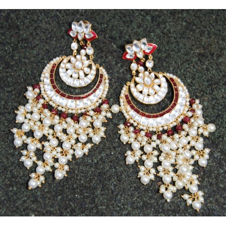 RUBY RED PEARLY DOUBLE CHAND BALI EARRINGS