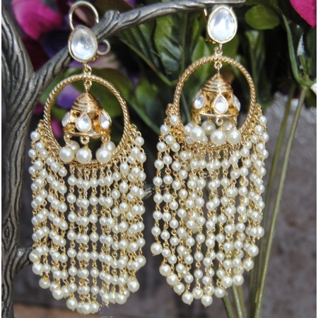 Designer Pearly Jhumka Dangler  Earrings