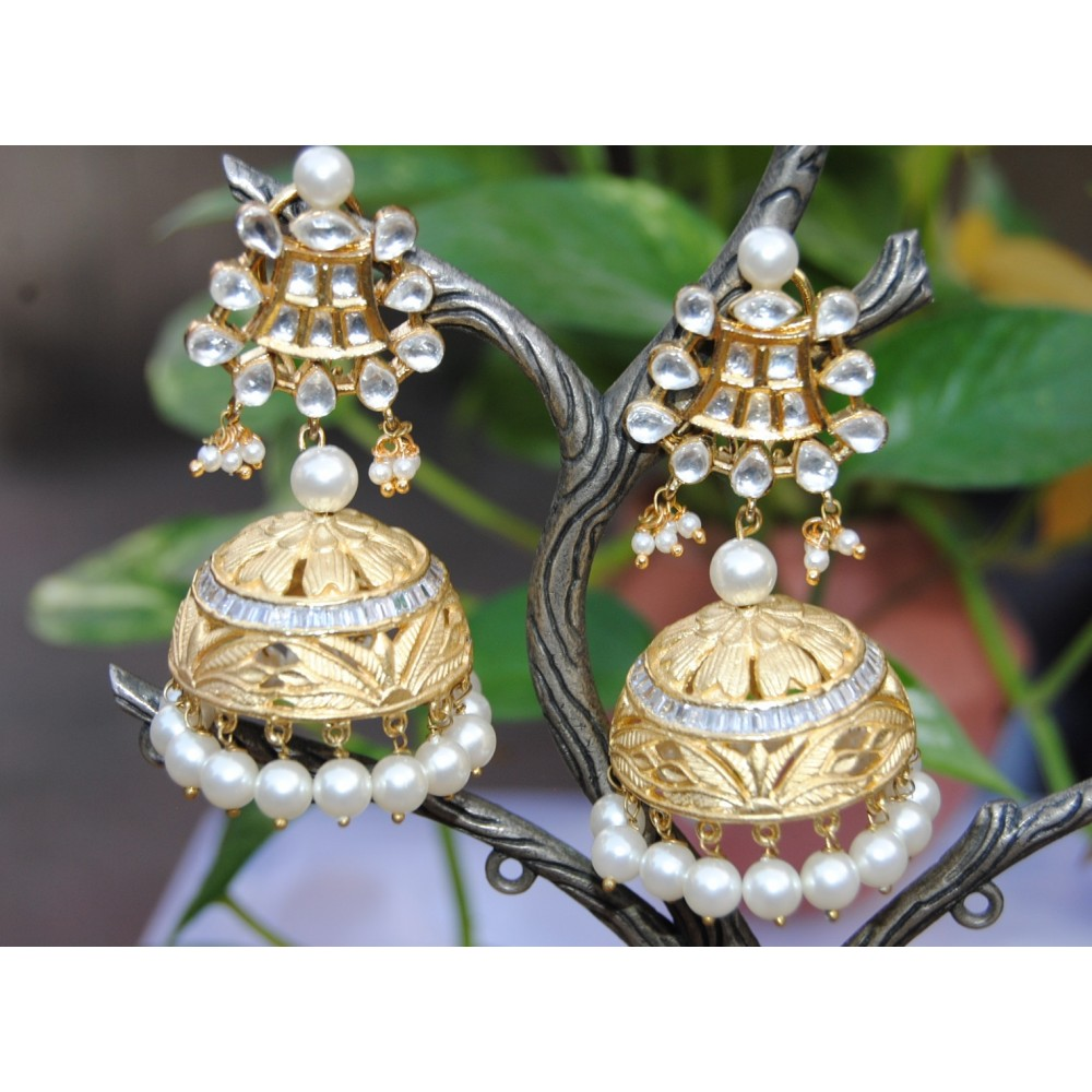 big gold with plated anklet arya ritika khusi earrings combo jewellery earings rabbi diamond quality jhumka high dhoom