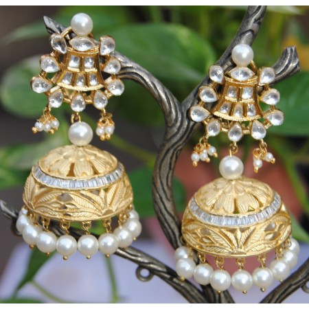 Classic Pearl Diamond Gold Jhumka Earrings