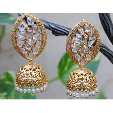 Delicate Pearl Gold Jhumka Earrings