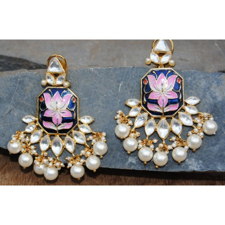Lotus Blue-Pink Enamel Pearl Diamond Dangler Earrings