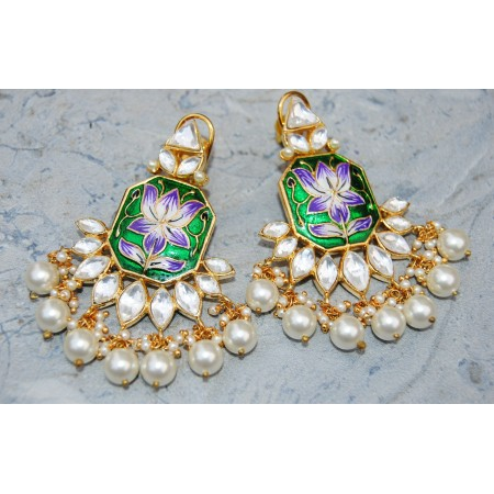 Lotus Green-Purple Enamel Pearl Diamond Dangler Earrings