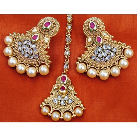 Golden Polki Diamond Pearl Dangler With Maang Tikka