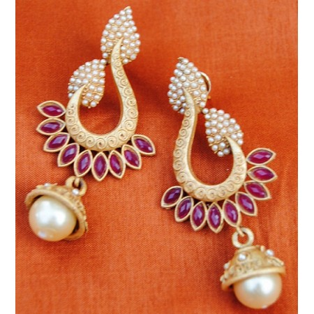 Red Pearl Drop Dangler Earrings