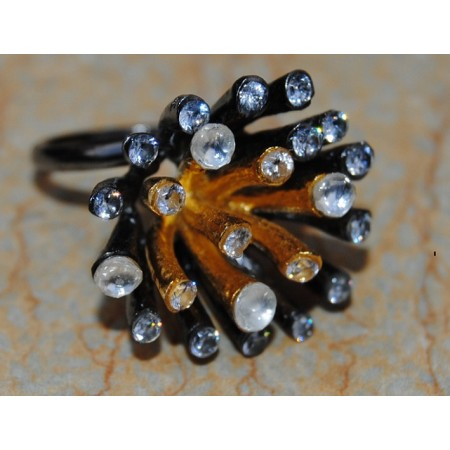 Celestial Black Gold Diamond Cocktail Ring