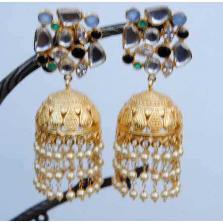 Green Diamond Pearl  Gold Jhumka Earrings