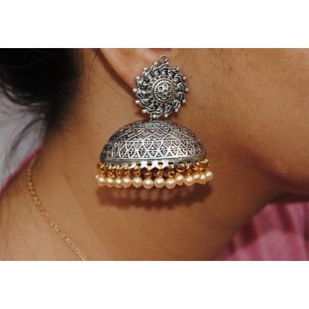 Gold Silver Oxide Jhumkas