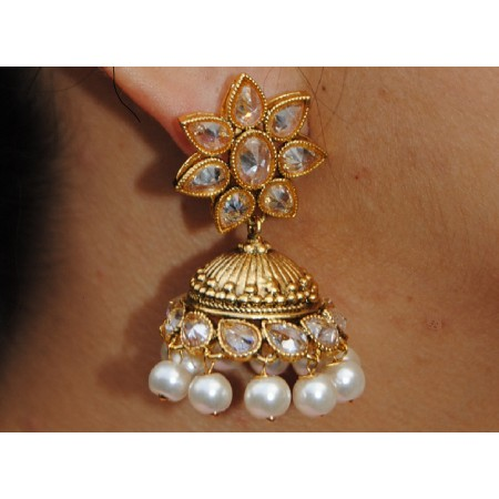 Floral Polki Diamond Stud Pearl Jhumka Earrings