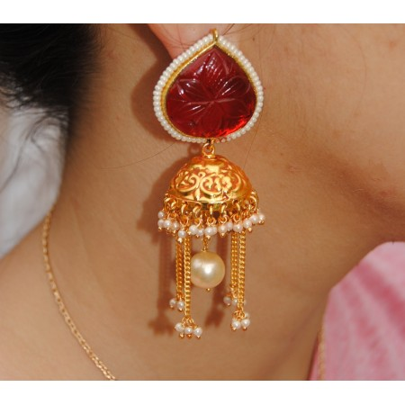 Gold Red Koyari Pearl Jhumka Earring