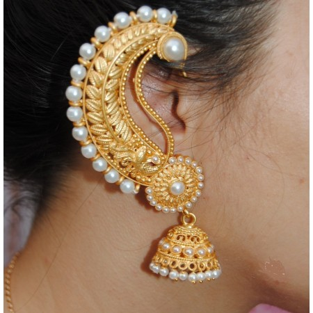 Pearl Gold Ear Cuff Earrings with jhumka