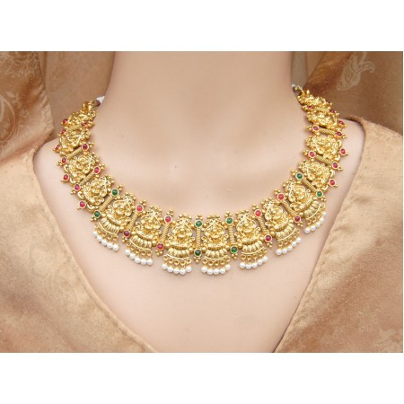 Lakshmi Goddess Colorful Necklace Set