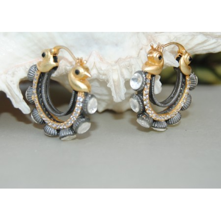 Gold Diamond Bali Hoop Earrings