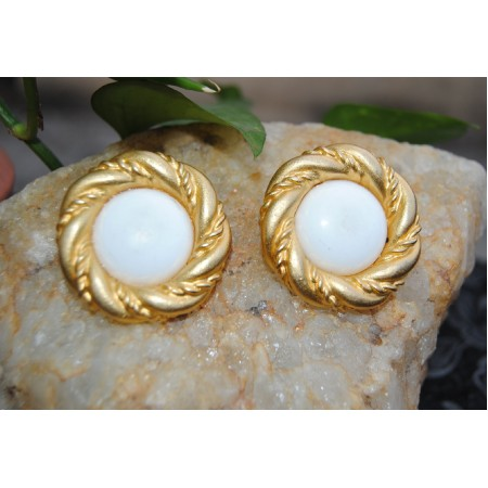 Gold Rimmed White Stud
