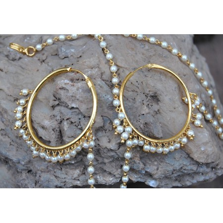 Pearl Hoop Earrings With Latkan