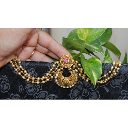 Antique Red Green Maang Tikka with Pearls