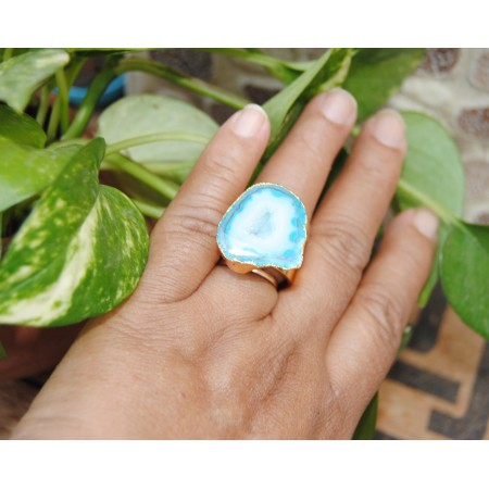 Blue Gold Druzy Cocktail Ring