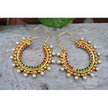 Multicolour Hoop Earrings with Pearls