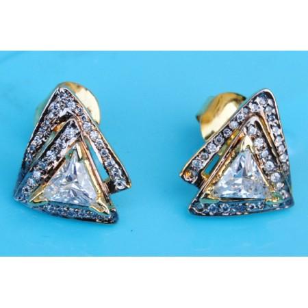 Layered Triangular Diamond Earrings