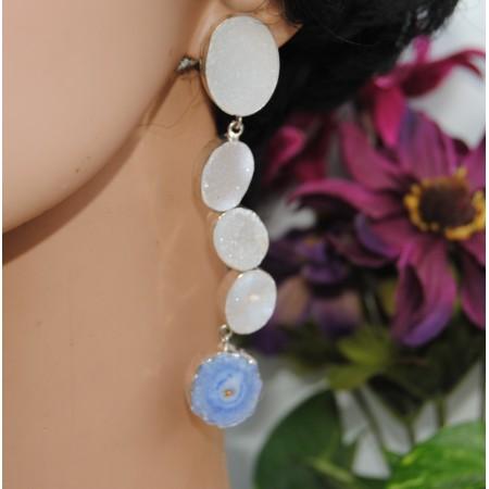 Oval White Druzzy Drop Dangler Earrings