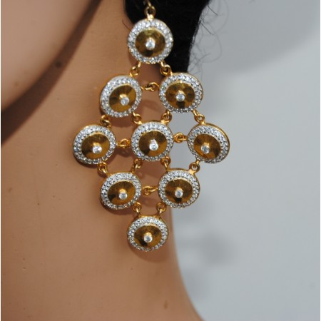 Gold Diamond Circle Dangler Earrings