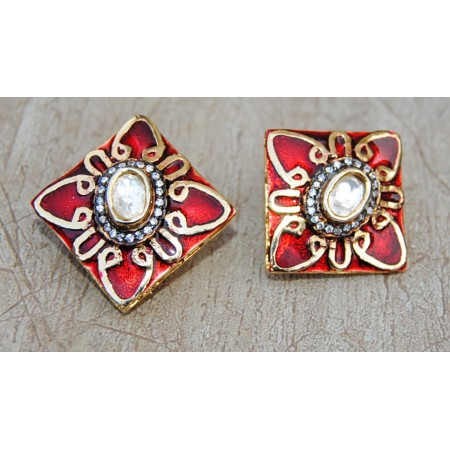 Uncut Diamond Studded Gold Red Stud Earrings